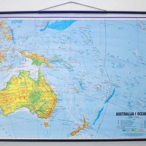 Australija i Oceanija, fizička, 1:10.000.000, 120×83 cm