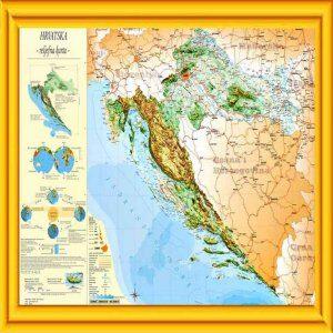 Reljefna karta Hrvatske (drveni okvir) 100×70 cm