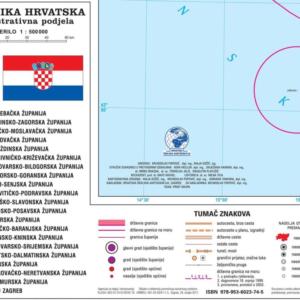 Hrvatska, administrativna podjela,  1:500 000, 120×118 cm