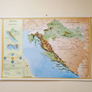 Reljefna karta Hrvatske (PVC letvice) 100×70 cm